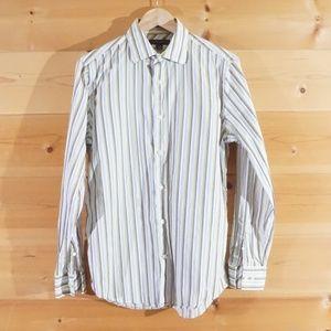 Pinstripe Long Sleeve Fitted Men's Dress Shirt